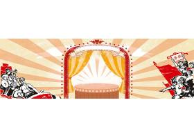 创意劳动节红色时代卡通人物背景模板图片