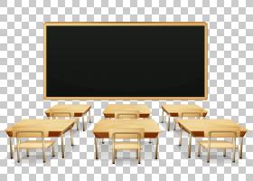 教室学生,学校教室与黑板和书桌,六张棕色桌子与椅子和一个黑框黑
