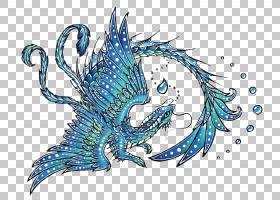 中国龙图案,蓝色西部龙PNG剪贴画png材料,龙,生日快乐矢量图像,虚