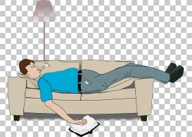 沙发睡眠床垫Loveseat,躺在沙发上睡觉的男人PNG剪贴画角度,家具,