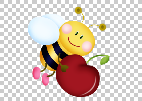 蜂动画片,拿着樱桃PNG clipart的蜂蜜蜂,食物,心脏,电脑,电脑壁纸
