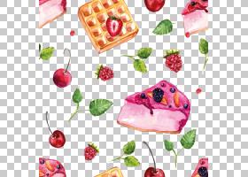 蛋糕水果蛋糕脆饼华夫饼甜点,手,画草莓水果蛋糕PNG剪贴画水彩绘