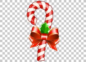 糖果手杖圣诞节棍子糖果丝带糖果,大透明圣诞节棒棒糖,与弓PNG cl
