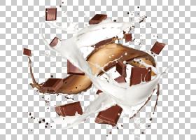 巧克力棒牛奶圣代巧克力蛋糕,巧克力飞溅PNG剪贴画食品,冷冻甜点,