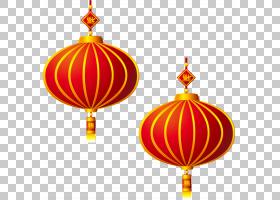 中国新年元宵福,农历新年节日元素PNG剪贴画假期,中式风格,橙色,