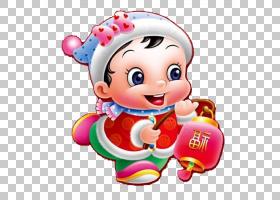 中国新年卡通福,可爱的福娃PNG剪贴画孩子,蹒跚学步,生日快乐矢量
