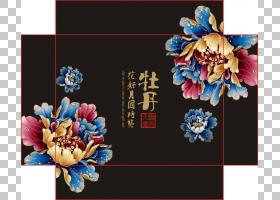 中国月饼纸包装和标签,国花PNG剪贴画插花,节日元素,海报,电脑壁