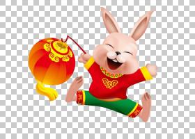 中国生肖鼠兔猪公鸡,春节灯笼和兔子PNG剪贴画灯笼,动物,龙,新,一