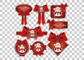 圣诞老人圣诞节标签,圣诞节弓标记PNG clipart功能区,节日元素,圣