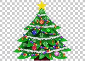 透明圣诞树,圣诞节PNG剪贴画装饰,圣诞节装饰,圣诞灯,圣诞老人,云