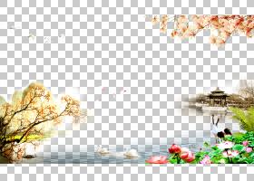 重阳节尊重老年人海报,莲花亭背景材料PNG剪贴画png材料,中式,分