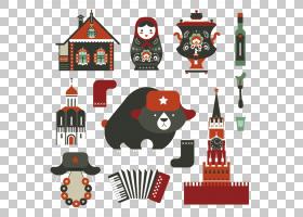 俄罗斯的图标,熊设置她的房子PNG剪贴画动物,摄影,装饰,装饰,圣诞图片