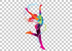 体育欧几里得,年轻的剪影跳舞女孩水彩,多彩多姿的体操运动员PNG图片