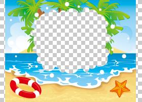 海滩海滨度假村暑假,夏天PNG剪贴画边框,叶,文本,计算机壁纸,夏天