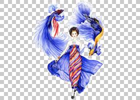 香奈儿时装插画师,精美的手工绘制的美女PNG剪贴画作品水彩画,画,