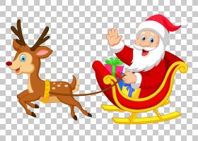 驯鹿圣诞老人圣诞节装饰品,透明圣诞老人与鲁道夫,圣诞老人PNG cl