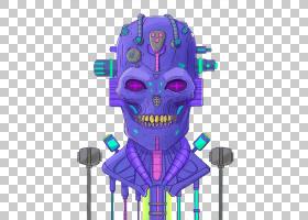 骨架,蓝色机械骨架PNG剪贴画紫色,简单,虚构人物,黑色,机械,头骨,