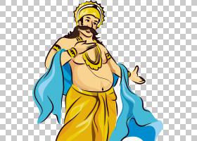 喀拉拉邦动画Onam,绘异国情调的佛,男人PNG剪贴画水彩画,手,海报,