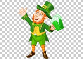 圣帕特里克节,圣帕特里克节妖精与绿色啤酒透明,妖精PNG剪贴画食