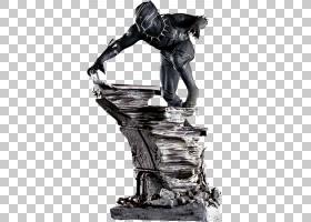 黑豹黑寡妇绿巨人雕像收藏家,黑豹PNG剪贴画虚构人物,单色,电影,