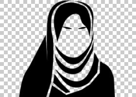 盖头计算机图标女人,女人PNG剪贴画脸,人民,单色,虚构人物,剪影,