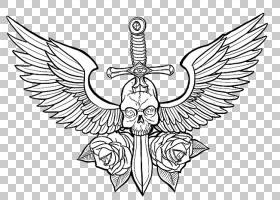 头骨绘图纹身Calavera蝴蝶,胸部纹身照片PNG剪贴画单色,对称,虚构