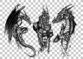 袖子纹身黑灰龙纹身艺术家,3D龙纹身设计PNG剪贴画马,时尚,灰色,