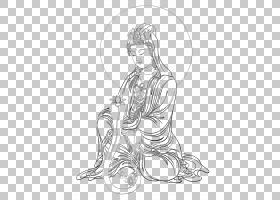 观音菩萨贡比唐卡Buddharupa,佛,3 PNG剪贴画白色,脸,手,单色,人