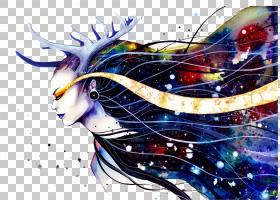 视觉艺术绘画水彩画,银河系女神PNG剪贴画墨水,漂亮,电脑壁纸,由,