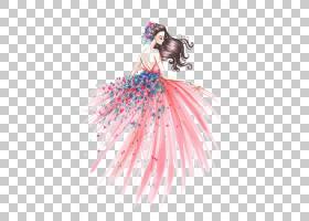 时尚绘画艺术素描,时尚女孩,粉红色的连衣裙绘画PNG剪贴画的女人