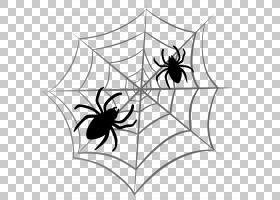 蜘蛛网万圣节,万圣节蜘蛛网,网络广告PNG剪贴画上的两个黑蜘蛛万
