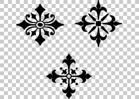 装饰艺术模具,装饰PNG剪贴画叶,单色,对称性,交叉,花,黑,买断式授