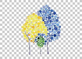 视觉艺术水彩画艺术作品,波点树PNG剪贴画png材料,树枝,对称性,棕