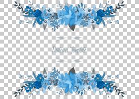 鲜花花卉边框,蓝色和白色花卉明信片模板PNG剪贴画边框,蓝色,文本