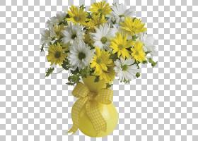 鲜花花束Teleflora礼品鲜花速递,黄色和白色雏菊花瓶,黄色花瓶中