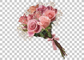 鲜花花束玫瑰,粉红玫瑰花束,粉红色的花束PNG剪贴画插花,婚礼,人
