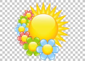 花春天,春天太阳与花,太阳和各种各样的颜色花PNG clipart水彩画,