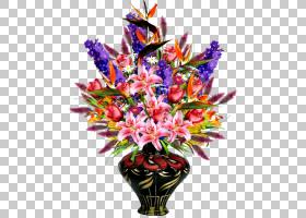 花艺设计Flowerz花瓶,薰衣草手,彩绘花瓶PNG剪贴画水彩画,插花,手