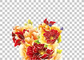 花艺设计菊花德兰士瓦雏菊大丽花切花,牡丹PNG剪贴画插花,人造花,