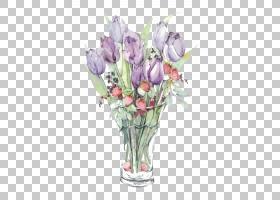 花艺设计郁金香紫色花瓶,紫色郁金香PNG剪贴画水彩画,插花,人造花