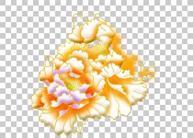 花艺设计金牡丹,牡丹PNG剪贴画插花,中式,橙色,花,牡丹花,花,玫瑰
