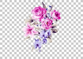 花艺设计鲜花花束切花三叶草,手绘花束,粉色和紫色花卉PNG剪贴画