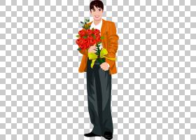 花花束,拿着花PNG clipart的被绘的人水彩画,插花,摄影,橙色,人,