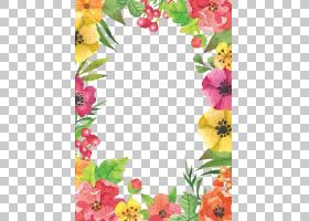 花,水彩花边框,花卉框架与蓝色背景PNG剪贴画水彩画,边框,水彩叶