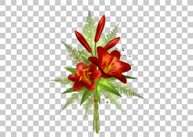花卉装饰,红色花卉装饰透明,红色百合花束PNG剪贴画插花,人造花,