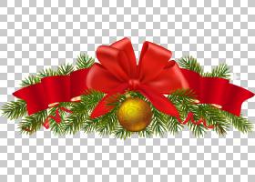 圣诞节装饰圣诞树,透明杉木圣诞节装饰,红色丝带PNG clipart花卉,