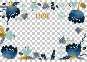 水彩画花,手绘水彩花边框,蓝色背景与新文本覆盖PNG剪贴画边框,蓝