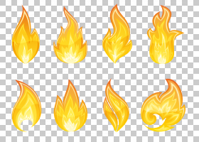 火焰图标,透明火焰集,八个火焰PNG剪贴画橙色,燃烧,彩色火,股票摄