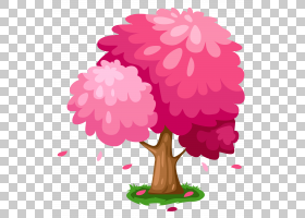 树绘图图形,可爱的粉红春天树,粉红色的叶子树PNG剪贴画爱,花卉安