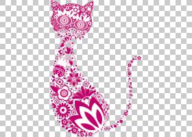 猫股票摄影,创意猫PNG剪贴画紫色,文字,摄影,心脏,小猫,花,品红色